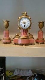 French Miniature Marble & Gilt Clock Set
